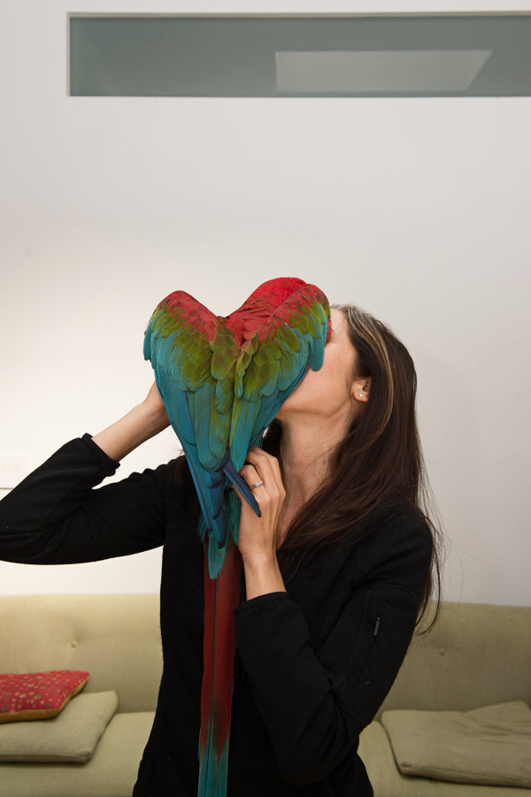 The Best kind of love. Lorelei, manager of the Center for Avian and Exotic Medicine in New York City, with her precious Mc Caw